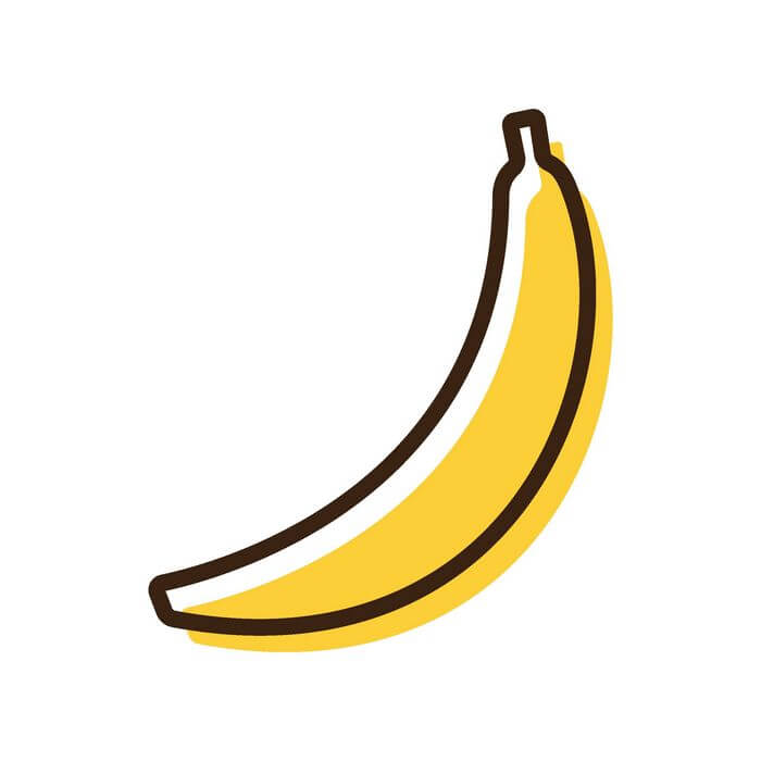 A single banana showing less carbohydrates.