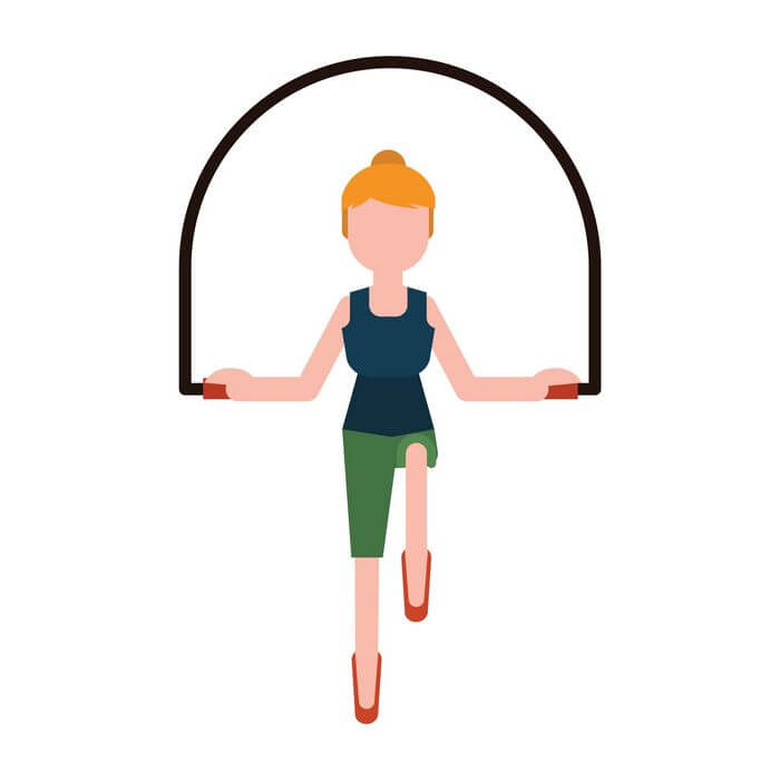 Vector image of a girl jumping on a skipping rope.