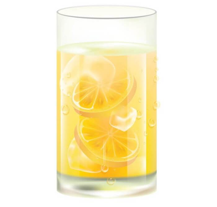 Animated picture of a glass filled with water, lime juice & slices and honey.