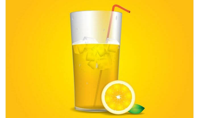 Vector image of a glass filled with water and lime juice, with a slice of lemon placed by the side of the glass.