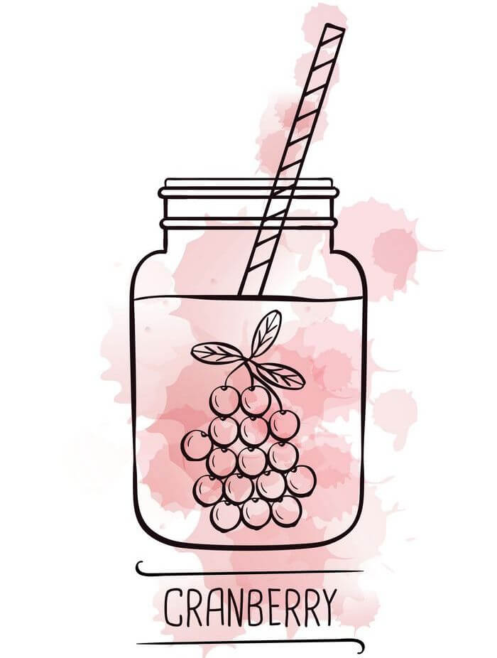 Mason jar filled with cranberry juice with a straw.