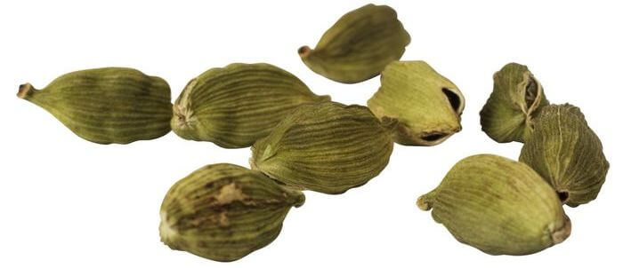 Close up of cardamoms on a white background.
