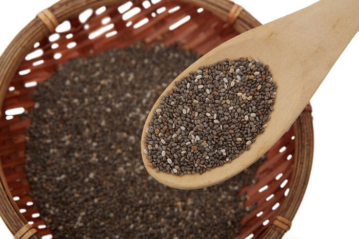 Close up of chia seeds in a spoon and a bowl.