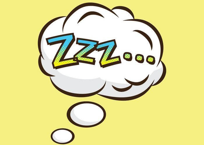 Vector image of zzz... written in a thought bubble: Implying sleep.