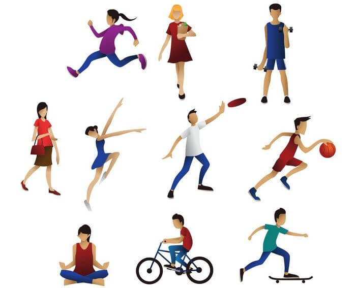Collection of people in action like aerobics, cycling, running, playing basket ball, skateboarding, yoga, etc.