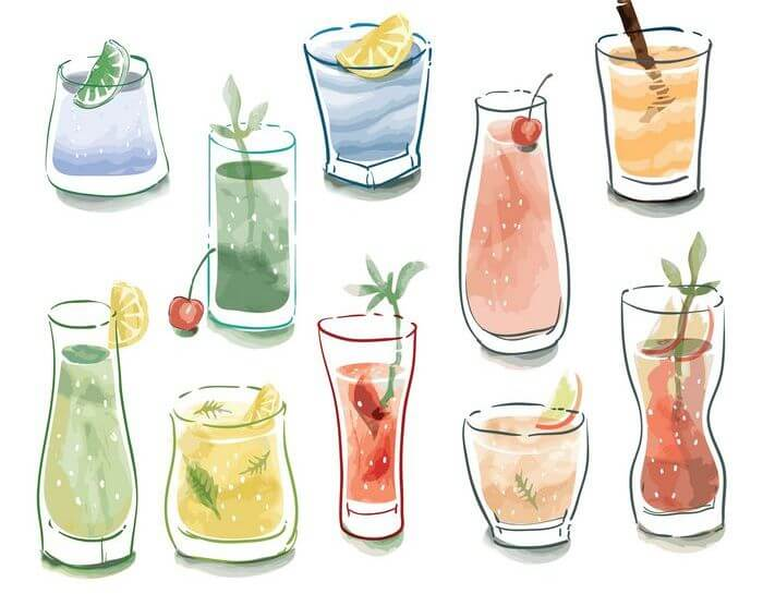 Collection of various kinds of juices in glasses.