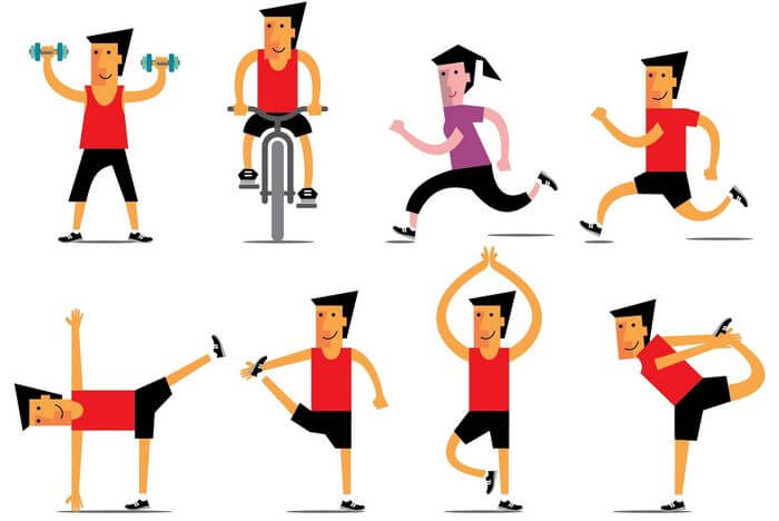 Collection of people doing exercises like running, stretching, weight lifting, cycling, etc.