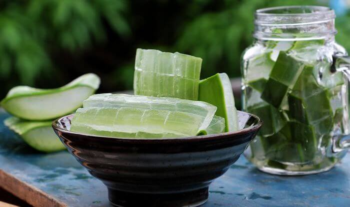 Aloe vera leaves in a bowl while its juice is collected in mason jar.