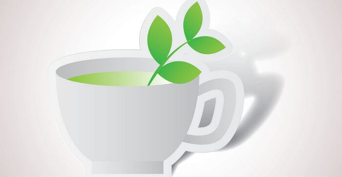 Vector image of green tea in a cup, with green tea leaves showing out of the cup.