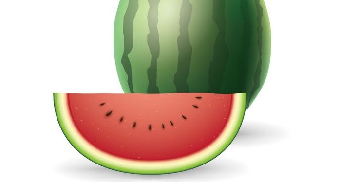 Close up of whole and sliced watermelon.