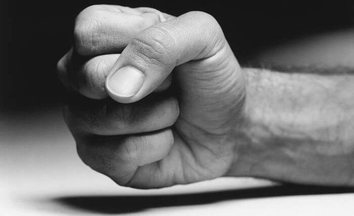 Close up of a clenched fist.