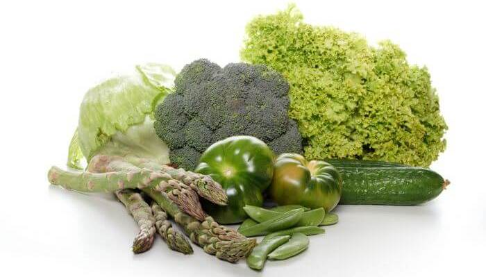 Close up of healthy food items like fruits and vegetables.