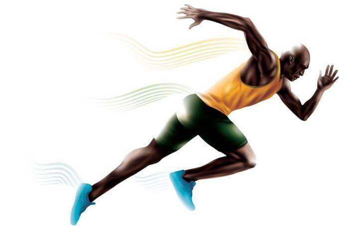 Vector image of a man in action and sprinting hard to reach his goal.