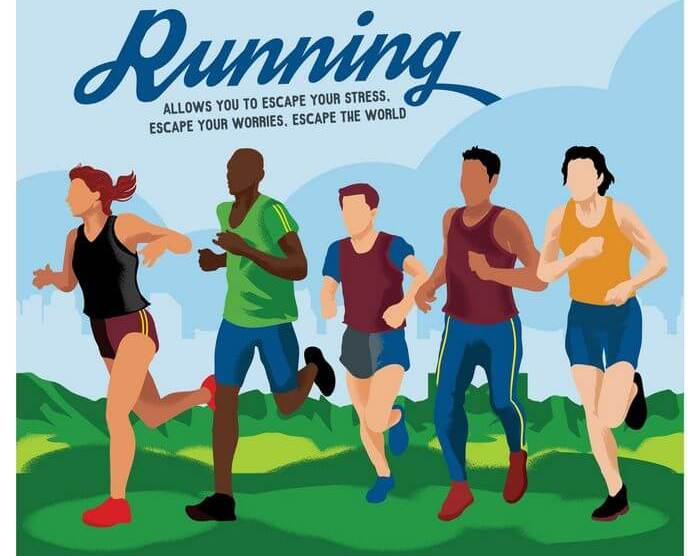 Vector image of people running with different hand, leg and body movement.