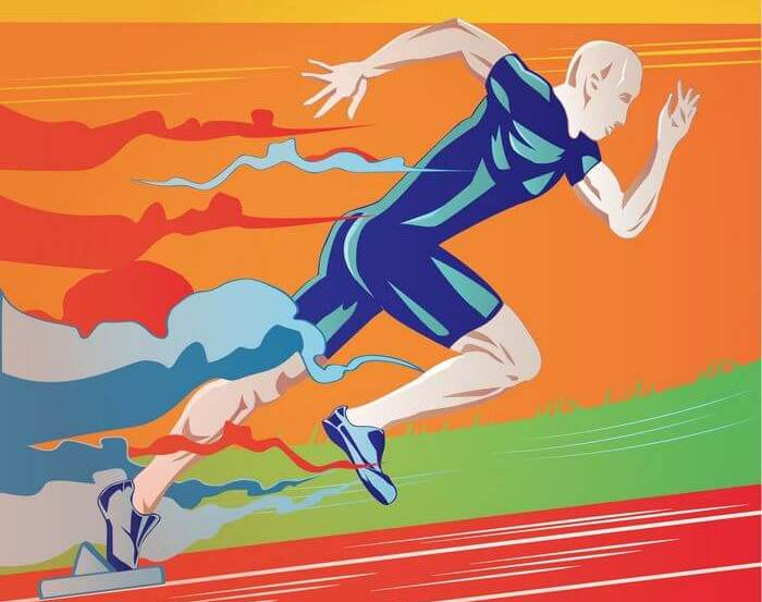 Vector image of a man running up hill.