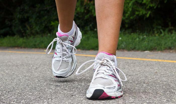 Close up of a good running shoes worn by a runner.