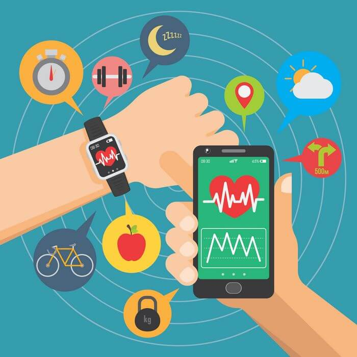 Creative of a man using a mobile phone, and smart watch: Depicting the use of technology.