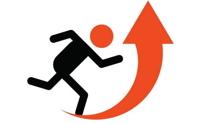 Icon of a man running with an up arrow in front: depicting increasing intensity.