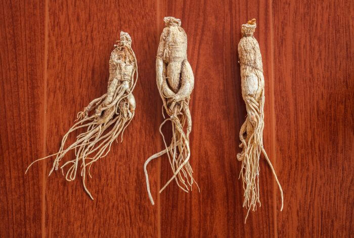 Ashwagandha (Indian Ginseng) Roots placed on wood.