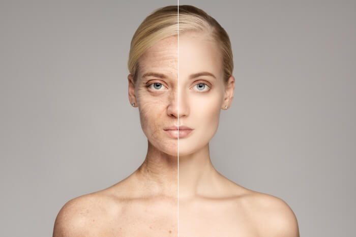Portrait Of Old and Young Woman. Showing Ageing and non Ageing Skin.