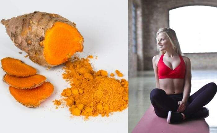 A slim, healthy, young woman feeling happy with toned body. Turmeric root and powder on white background on left side